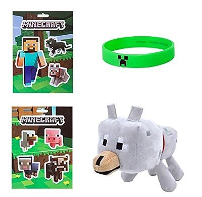 "Minecraft Bundle #2- 5""x7"" Sticker Sheets, Creeper Bracelet (L) from Minecraft"