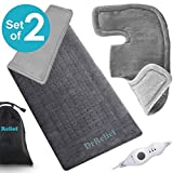 Heating Pad Gift Set of 2 – Shoulder & Neck Heating Pad and Extra-Large 12 x 24 Inch Heating Wrap for Back or Abdominal Pain Relief – Moist Heating Option with Auto Shut Off (Color: Gray)