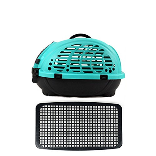Choler Pet Carrier Airline Approved Portable Pet Puppy Cat Dog Out Cage With Grid Plate (blue)