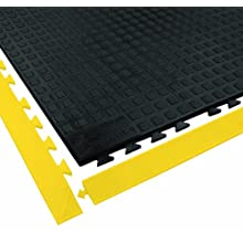 "Wearwell Urethane 502 Rejuvenator Connect Anti-Fatigue Mat, for Dry Heavy Duty Industrial Areas, 3' Width x 5' Length x 5/8"" Thickness, Black"