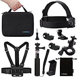 Luxebell 8-in-1 Accessories Kit for Sony Action Cam Hdr-as15 As20 As30v As100v As200v Hdr-az1 Vr Mini Sony Fdr-x1000v - Case / Handheld Monopod / Chest Mount / Head Band / Bike Mount