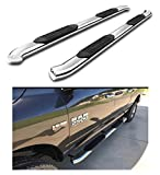 """Running Boards 4"""" Oval Curved Stainless Steel Nerf Bars Side Steps 2009-2018 Dodge Ram 1500 Crew Cab (4 full doors); 2010-2018 Dodge Ram 2500 3500 Crew Cab (4 full doors)"""