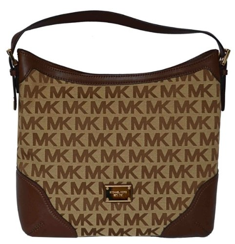 Michael Kors MK Signature Millbrook Large Shoulder Bag Handbag - Beige/ Mocha