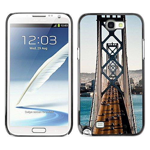 Qcase Slim Pc / Aluminium Sleek Case Cover Armor Shell -- Architecture San Francisco Bridge Traffic -- Samsung Note 2