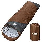 丸洗いOK White Seek 寝袋 シュラフ 封筒型【最低使用温度0℃ 1300】コンパクト収納 (ブラウン)