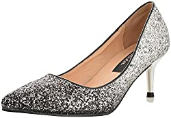 Smitten Womens Silver and Black PU Court Shoes - 5 UK