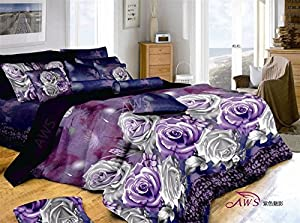 Purple Rose 100% Cotton Queen Size 3d Print Bedding Set (1 Duvet Cover + 1 Bed Sheet + 2 * Pillow Case)