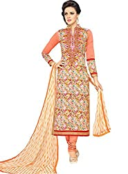 ShivFab Present All New Formal Wear Embroidered Orange Color Dress Meterial.(COTTON DRESS) ANGROOP DAIRYMILK VOL_10
