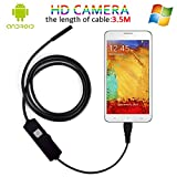 Android Endoscope Camera, 5.5MM Mini Borescope HD EndoscopeInspectionCamera With Mirror & Hook (3.5M/11.5Ft)