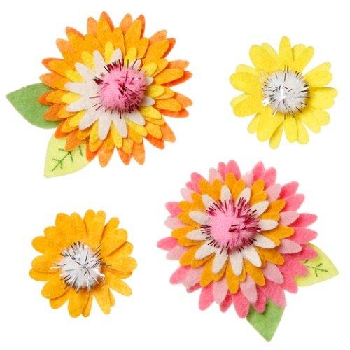 WeGlow International Felt Embellishment Pastel Color Flowers, Set of 8