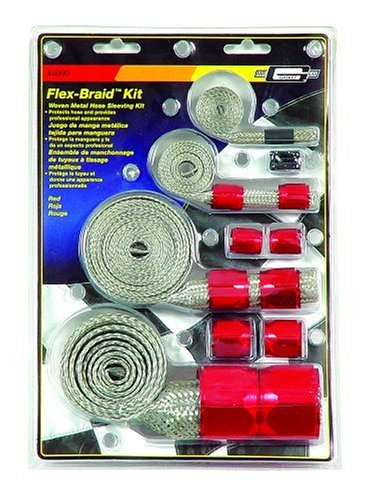Mr. Gasket 8090 Red Flex-Braided Hose Sleeve Kit (Radiator Hose Cover compare prices)