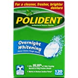 Polident HDS5525837 Overnight Whitening Denture Cleanser Tablets, 120 Count