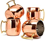 Coppertisan Barrel Copper Moscow Mule Mug, 18 oz - Set of 4 - Handmade of 100% Pure Copper, Nickel Lined, Brass Handle