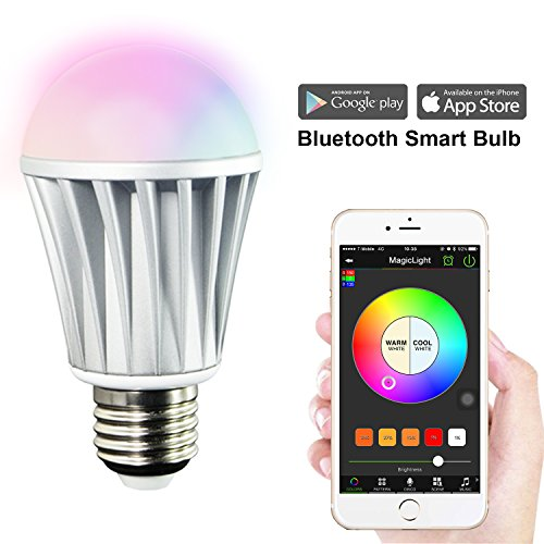 MagicLight Bluetooth Smart LED Light Bulb - Smartphone Controlled Sunrise Wake Up Lights - Dimmable Multicolored Color Changing Party Lights Bulb - 7 Watts (60Watts Equivalent) (Nightlight Lightbulbs Blue compare prices)