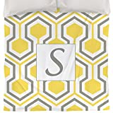 Thumbprintz Duvet Cover, Queen/Full, Monogrammed Letter S, Yellow Honeycomb