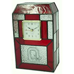 Ohio State Buckeyes Stained Glass Desk Clock by Traditions Artglass