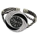 Daudy Stylish Ladies Braided Twisted Leather Bracelet Wristwatch Large Round Case Black Watch