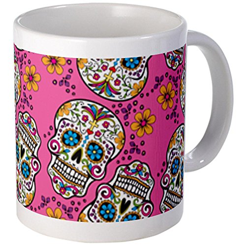 Cafepress Sugar Skull Halloween Pink Mugs - Mega White
