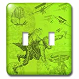 3dRose lsp_219340_2 Steampunk Flying Machines Hot Air Balloons In Acid Green - Double Toggle Switch