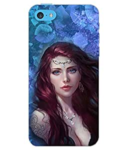 PrintDhaba CUTE GIRL D-6261 Back Case Cover for APPLE IPHONE 5C (Multi-Coloured)