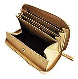 aimablerito 長財布 牛革 レザー ラウンドファスナー ギャルソン 財布 多機能 見やすい 箱型 小銭入れ 全5色 (黒・紫・ピンク・ゴールド・ベージュ) (3 ベージュ)