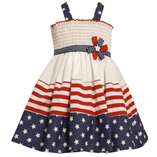 6967c0304fc5a Bonnie Jean TODDLERS 2T-4T WHITE RED BLUE STARS and STRIPES SMOCKED  Americana Patriotic Spring Summer Girl Party Dress Review