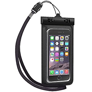 TETHYS Waterproof Case for Apple iPhone 6 5S 5C 5, Samsung Galaxy S6 and S6 Edge S5 S4 - [Black] Universal Ultrapouch Waterproof Pouch with Touch Responsive Front and Back Transparent Screen Protector Windows [One Year Warranty] fits any version of iPhone 6S 4S 4 3, iPod Touch; LG Optimus G2, G2 Mini,G Pro; HTC One M8,M7,M4,Mini;Google Nexus 5 4;MP3 Player(A.K.A IPX8 Certified Protective Smartphone Credit Card Waterproof Bag Life Case)[Not Compatible with iPhone 6 Plus 5.5inch/Galaxy Note 4 3 2]