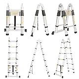 Echelle Télescopique Aluminium 86 cm à 3.8m Portable Multifonctions Echelle Escabeau EN131 Norme Bricolage Maison - Best Reviews Guide