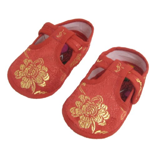 2 Pcs Gold Tone Floral Pattern Red Baby Boy Girl