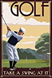 Golf - Take a Swing at It (12x18 Art Print, Wall Decor Travel Poster)
