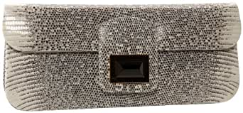 Kara Ross Lizard Dea Clutch,Natural Ring Lizard/Gold,one size