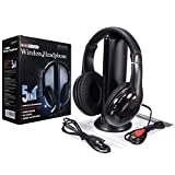 Rison®New 5 In 1 Wireless Cordless RF Headphones Headset with Mic for PC TV Radio (Color: black)