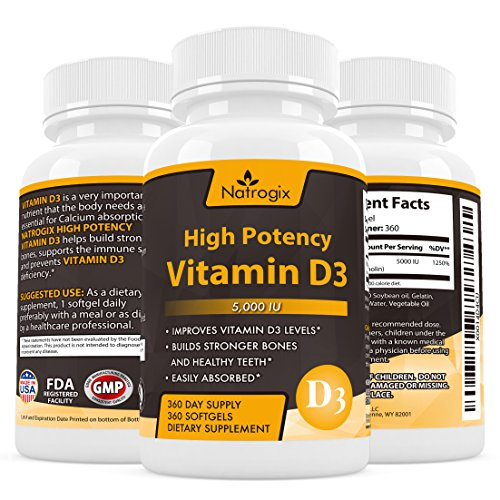 High Potency Vitamin D3 (Cholecalciferol) 5,000 IU 360-Day Supply Supplement - The Formula Helps for Healthy Bones and Teeth + Calcium Absorption + Immune systems(360 Softgel) (Vitamin Gel Caps compare prices)