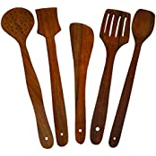 Craftgasmic Handmade Wooden Serving And Cooking Spoon Kitchen Utensil Set Of 5
