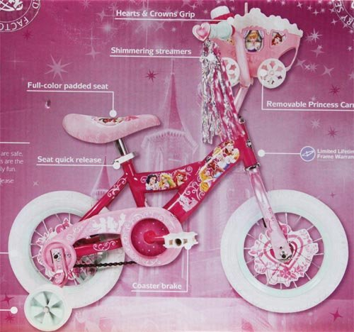 New Disney Princess 12 Inch Bike for Girls - Pink Color with Glimmering & Sparkling Streamers and Doll Carriage Included