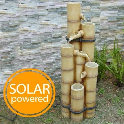 Small Solar Powered Water Feature Bamboo Poles Waterfall PC122