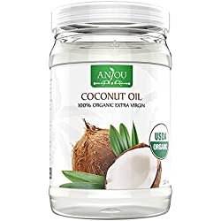 Anjou Coconut Oil, 32 oz, Organic Extra Virgin, Cold Pressed Unrefined for Hair, Skin, Cooking, Health, Beauty, USDA Certified