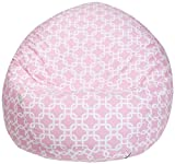Majestic Home Goods Soft Links Bean Bag, Small, Pink and White