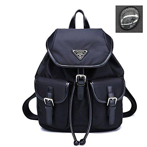 Ungrol Water Resistant Women's Bag Leisure Drawstring Backpack Black