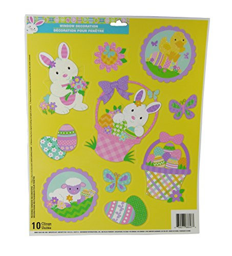 Easter Decorative Glitter Window Clings - Easter Time Theme- 10 Clings