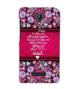 Love Exist Quote 3D Hard Polycarbonate Designer Back Case Cover for Micromax Canvas Spark Q380