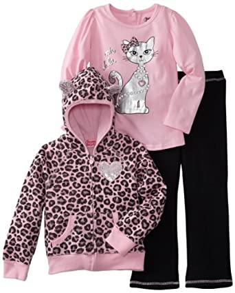 Young Hearts Girls 2-6X 3 Piece Cat Fleece Pant Set, Light Pink/Pastel, 2T