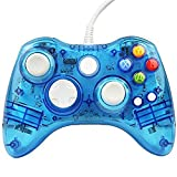 Uniway GK01 Game Controller Wired Gamepad Transparent PC Controller Joystick With LED Light Built-in Microphone Slot For Microsoft Xbox 360 Controller Supports Windowsxp/Vista/Win 7/8 System PC-Blue