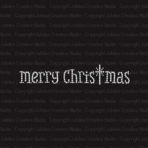 Merry Christmas Iron On Rhinestone Tshirt Transfer