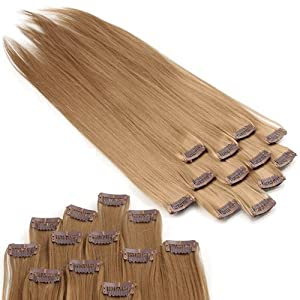 12 Blonde #22 Straight Clip in Hair Weft Extensions 20