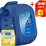 GBD GPS Tracker Smart Watch for Kids with Sim Card Smartwatch Phone Anti-lost Finder SOS Children Fitness Tracker Wrist Bracelet with Pedometer Parents Control App for Smartphone (Royal Blue)