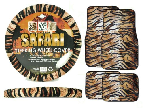 A Set of 4 Universal Fit Animal Print Carpet Floor Mats and Animal Print Steering Wheel Cover - Tiger (Fuzzy Tiger Steering Wheel Cover compare prices)