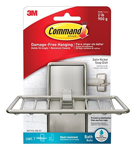 Command BATH34-SN-ES Soap Dish, Satin Nickel, 1-Soap Dish, 2-Medium Water-Resistant Strips by Command (Command Soap Dish compare prices)