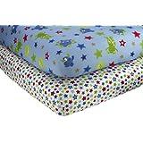 Little Bedding 2 Count Crib Sheet Set, Monster Babies