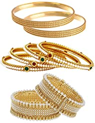 Jewels Galaxy Combo Of Broad Designer Pearls Bangles And Trendy Gold Plated Bangles - Pack Of 8
